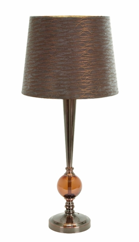 Benzara 40077 benzara 40077 set 2 brown table lamps with for Brown table lamp shades
