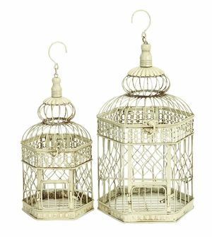 "Metal Bird Cage Set-2  21"",18"" H - 66520 by Benzara"