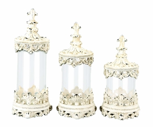 Set of 3 Glass Polystone Canister Set With Flower Print - 43170 by Benzara