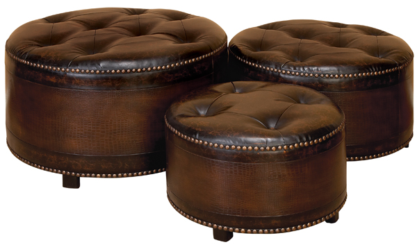 Buy set 3 dark brown round leather ottoman footstools at for 30 inch round ottoman