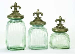 POLYSTONE GLASS CANISTER SET OF 3 WITH FLOWER PRINTS - 43171 by Benzara