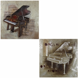 Set of 2 assorted Spectacular Piano Oil Painting   - EN110341 by Benzara