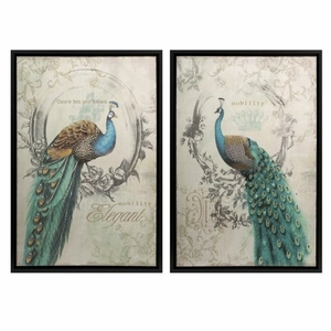 Set of 2 Attractive Panache Peacock Art by IMAX