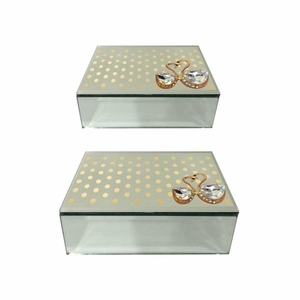 Set Of 2 Glass Jewelry Storage Box - 98783 by Benzara