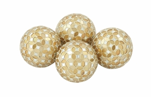 Set Of 4 Fabulously Designed Pvc Glass Gold Mosaic Orb - 24010 by Benzara
