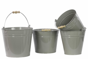 Set of Four Metal Buckets With Wood Handle