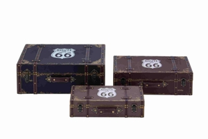 American Themed Route 66 Wooden Vinyl Set of Three Boxes - 93963 by Benzara