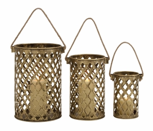 Set Of Three Antique Metal Lantern Candle Holders - 26848 by Benzara