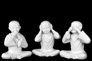 Set of Three Ceramic No Evil Monk