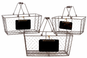 Set of Three Metal Wire Basket Rectangular - Rust