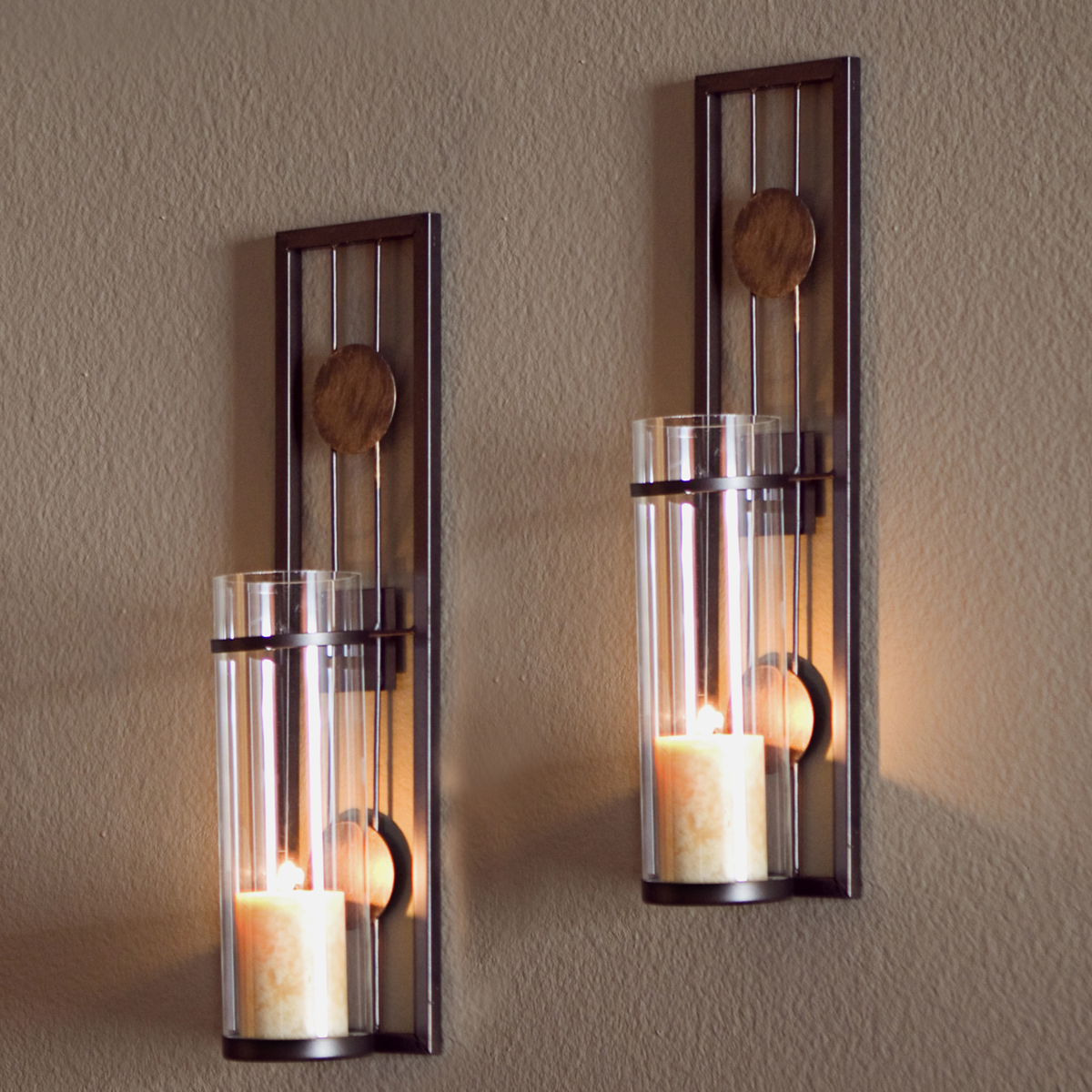 Buy danya b set of two contemporary metal wall sconces with buy danya b set of two contemporary metal wall sconces with antique patina medallions at wildorchidquilts amipublicfo Image collections