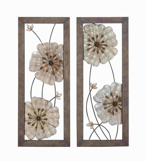 Victorian-Themed Sparkling Assorted Floral Wall Art - 54441 by Benzara