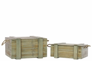 Set of Two Wood Chest with Rope Handles