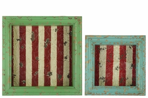 Set of Two Wood Shadow Boxes with Striped Red Backing