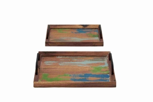 Set of Two Wooden Trays with Metal Handle Brand Benzara - 93860 by Benzara