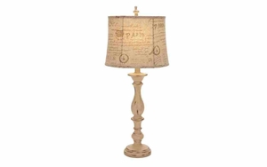 Shabby Paris Shade Polystone Table Lamp - 95770 by Benzara