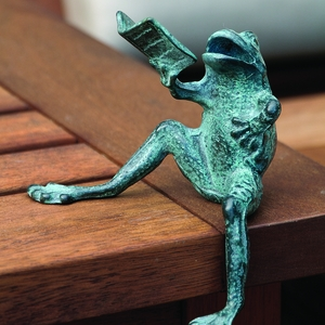Shelf Sitter Antique Blue Reading Frog by SPI-HOME