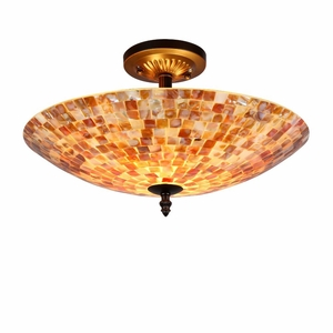 "Shelley, Mosaic 2 Light Semi-Flush Ceiling Fixture 16"" Shade"