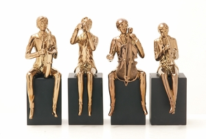 Shimmering Ceramic Copper MUSIC Figure Set of Four by Benzara
