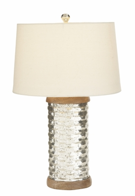 Shimmering Cylinder Glass Table Lamp With Shade - 23575 by Benzara