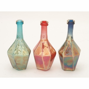 Shimmering Glass Bottle 3 Assorted - 67479 by Benzara