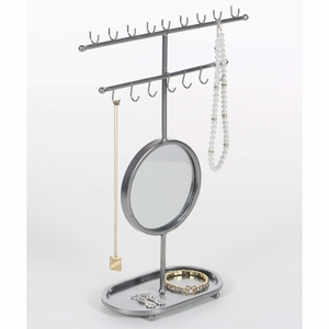 Shimmering Silver Mirror Jewelry Holder - 94609 by Benzara