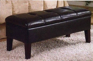 4D Concepts Shiny Leather Neat Brown Blackstone Headboard