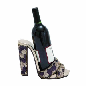 Shoe Wine Holder With Shimmer Of Sequins And Gold Finished  - 36535 by Benzara