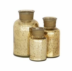 Show Off With Glass Gold Bottle Set Of 3 - 24126 by Benzara