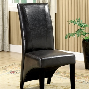 Madison Leatherette Parson Chairs Side Chair,Set of 2; Black