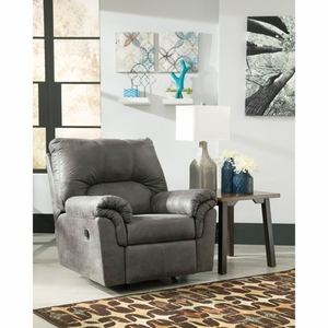 Signature Design by Ashley Bladen Rocker Recliner in Slate Faux Leather