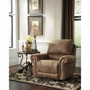 Signature Design by Ashley Larkinhurst Rocker Recliner in Earth Faux Leather