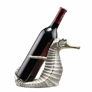 Silver Colored Seahorse Single Wine Bottle Holder by SPI-HOME