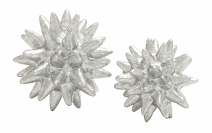 Silver Polystone Tabledecorative Set Of 2 - 97719 by Benzara