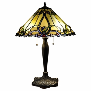 "MAJESTIC GRANDEUR Tiffany-style 2 Light Victorian Table Lamp 18"" Shade"