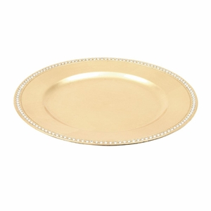 Simple Beads Charger Plate Gold - Set of 24 - 62653 by Benzara