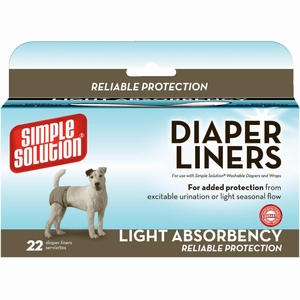 Simple Solution Disposable Dog Diaper Liners Light Flow 22 pack White