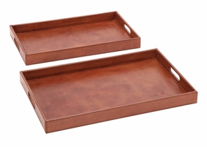 Simply Charming Set of 2 Wood Real Leather Tray - 95902 by Benzara