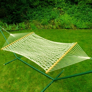 Single size 11' cotton rope hammock by Algoma