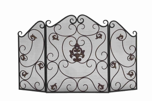 Metal Fire Screen With Traditional Floral And Wire Mesh Design - 18110 by Benzara