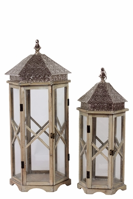 Skillfully Crafted w/ Zigzag Design Wooden / Metal Lantern Set of Two