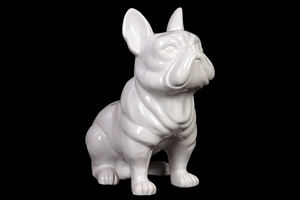 Skillfully Sculpted Attentive Ceramic Bull Dog in White