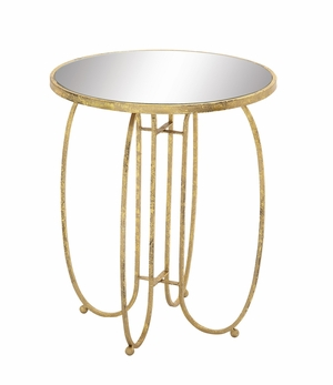 Sleek And Stylish Metal Mirror Accent Table - 28973 by Benzara
