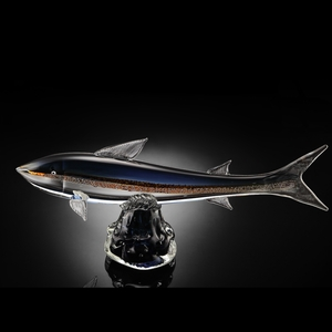 Sleek Art Glass Trout with Gift Box Stand by SPI-HOME