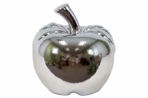 Sleek & Exquisite Ceramic Apple Polished in Silver Large