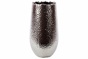 Sleek & Shiny Ceramic Vase in Silver Coating Large