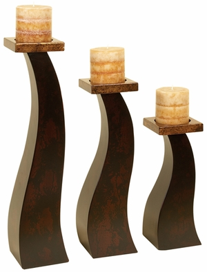 WOOD CANDLE HOLDER SET OF 3 AN SPECIAL OCCASIONdecorATION - 99026 by Benzara