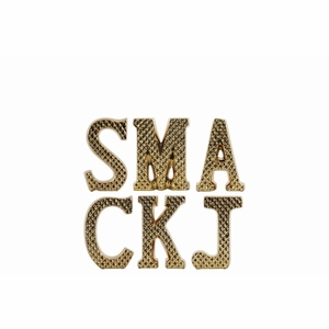 """""""SMACKJ"""" with Embossed Design Assortment of Six - Gold - Small - Benzara"""