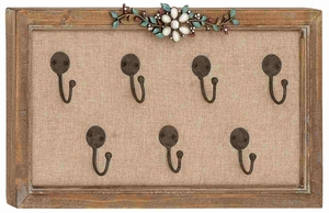 Wooden Frame Unique Floral Art Hook Wall Panel - 93951 by Benzara