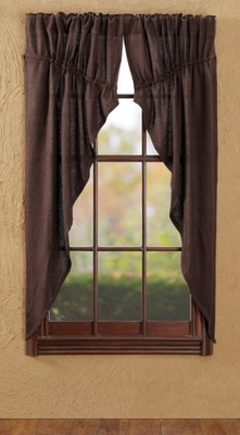 Smart Burlap Chocolate Prairie Curtain Set of 2 by VHC Brands